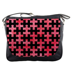 Puzzle1 Black Marble & Red Watercolor Messenger Bags by trendistuff