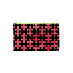 Puzzle1 Black Marble & Red Watercolor Cosmetic Bag (xs) by trendistuff
