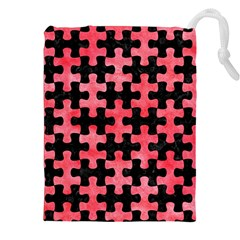 Puzzle1 Black Marble & Red Watercolor Drawstring Pouches (xxl) by trendistuff