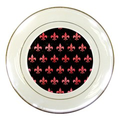 Royal1 Black Marble & Red Watercolor Porcelain Plates by trendistuff