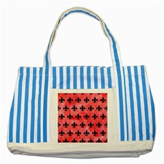 Royal1 Black Marble & Red Watercolor (r) Striped Blue Tote Bag by trendistuff