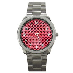 Scales1 Black Marble & Red Watercolor Sport Metal Watch by trendistuff