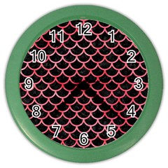 Scales1 Black Marble & Red Watercolor (r) Color Wall Clocks by trendistuff