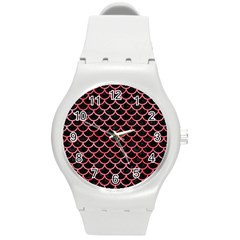 Scales1 Black Marble & Red Watercolor (r) Round Plastic Sport Watch (m) by trendistuff