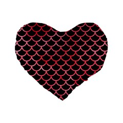 Scales1 Black Marble & Red Watercolor (r) Standard 16  Premium Heart Shape Cushions by trendistuff