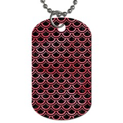 Scales2 Black Marble & Red Watercolor (r) Dog Tag (two Sides) by trendistuff