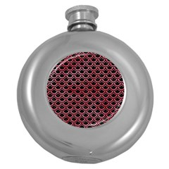 Scales2 Black Marble & Red Watercolor (r) Round Hip Flask (5 Oz) by trendistuff