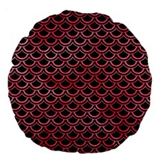 Scales2 Black Marble & Red Watercolor (r) Large 18  Premium Flano Round Cushions by trendistuff