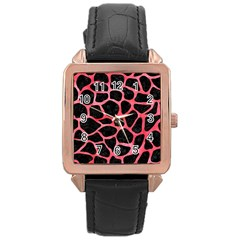 Skin1 Black Marble & Red Watercolor Rose Gold Leather Watch  by trendistuff