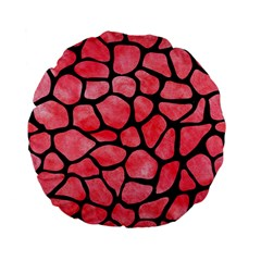 Skin1 Black Marble & Red Watercolor (r) Standard 15  Premium Flano Round Cushions by trendistuff