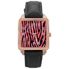 Skin4 Black Marble & Red Watercolor Rose Gold Leather Watch  by trendistuff