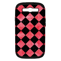 Square2 Black Marble & Red Watercolor Samsung Galaxy S Iii Hardshell Case (pc+silicone) by trendistuff