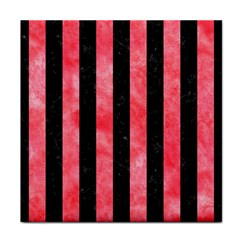 Stripes1 Black Marble & Red Watercolor Tile Coasters