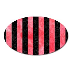 Stripes1 Black Marble & Red Watercolor Oval Magnet by trendistuff