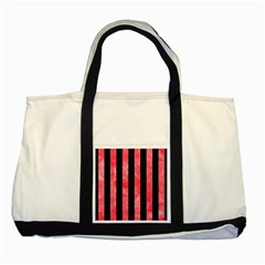 Stripes1 Black Marble & Red Watercolor Two Tone Tote Bag by trendistuff