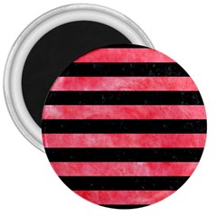 Stripes2 Black Marble & Red Watercolor 3  Magnets by trendistuff