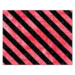 Stripes3 Black Marble & Red Watercolor Rectangular Jigsaw Puzzl by trendistuff