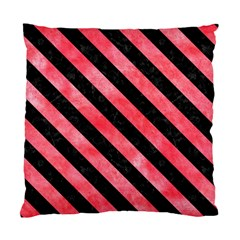 Stripes3 Black Marble & Red Watercolor Standard Cushion Case (two Sides) by trendistuff