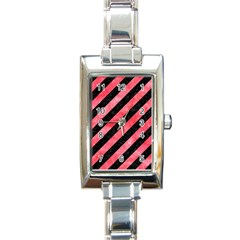 Stripes3 Black Marble & Red Watercolor (r) Rectangle Italian Charm Watch by trendistuff
