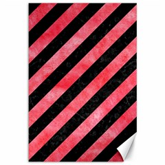 Stripes3 Black Marble & Red Watercolor (r) Canvas 12  X 18   by trendistuff