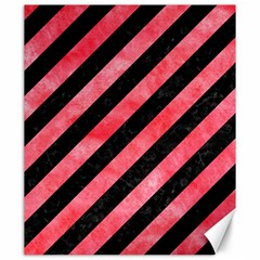 Stripes3 Black Marble & Red Watercolor (r) Canvas 20  X 24