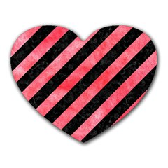 Stripes3 Black Marble & Red Watercolor (r) Heart Mousepads