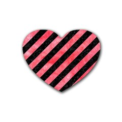 Stripes3 Black Marble & Red Watercolor (r) Rubber Coaster (heart)