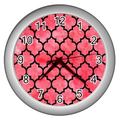 Tile1 Black Marble & Red Watercolor Wall Clocks (silver)  by trendistuff