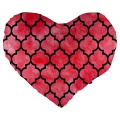 Tile1 Black Marble & Red Watercolor Large 19  Premium Flano Heart Shape Cushions by trendistuff