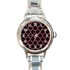 Tile1 Black Marble & Red Watercolor (r) Round Italian Charm Watch by trendistuff