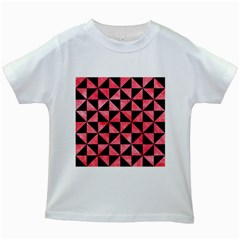 Triangle1 Black Marble & Red Watercolor Kids White T Shirts by trendistuff
