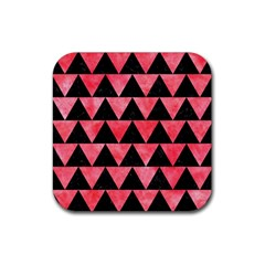 Triangle2 Black Marble & Red Watercolor Rubber Square Coaster (4 Pack)  by trendistuff