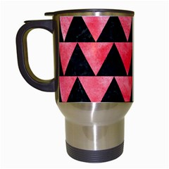 Triangle2 Black Marble & Red Watercolor Travel Mugs (white) by trendistuff