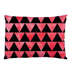 Triangle2 Black Marble & Red Watercolor Pillow Case by trendistuff