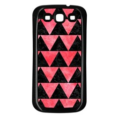Triangle2 Black Marble & Red Watercolor Samsung Galaxy S3 Back Case (black) by trendistuff