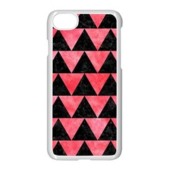 Triangle2 Black Marble & Red Watercolor Apple Iphone 7 Seamless Case (white) by trendistuff