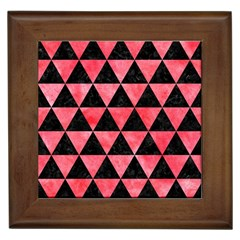 Triangle3 Black Marble & Red Watercolor Framed Tiles by trendistuff