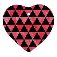 Triangle3 Black Marble & Red Watercolor Ornament (heart) by trendistuff