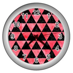 Triangle3 Black Marble & Red Watercolor Wall Clocks (silver)  by trendistuff