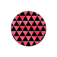 Triangle3 Black Marble & Red Watercolor Rubber Round Coaster (4 Pack)  by trendistuff