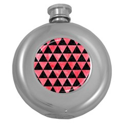 Triangle3 Black Marble & Red Watercolor Round Hip Flask (5 Oz) by trendistuff