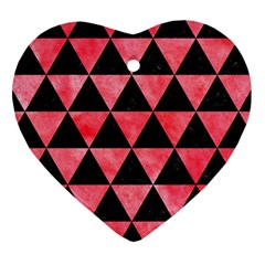 Triangle3 Black Marble & Red Watercolor Heart Ornament (two Sides) by trendistuff