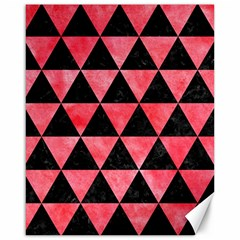 Triangle3 Black Marble & Red Watercolor Canvas 16  X 20   by trendistuff