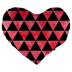 Triangle3 Black Marble & Red Watercolor Large 19  Premium Heart Shape Cushions by trendistuff