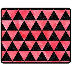 Triangle3 Black Marble & Red Watercolor Double Sided Fleece Blanket (medium)  by trendistuff