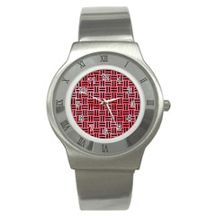 Woven1 Black Marble & Red Watercolor Stainless Steel Watch by trendistuff