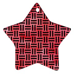 Woven1 Black Marble & Red Watercolor Star Ornament (two Sides)