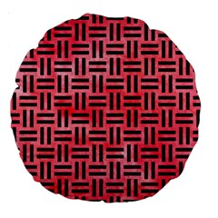 Woven1 Black Marble & Red Watercolor Large 18  Premium Round Cushions by trendistuff