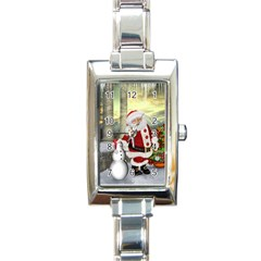 Sanata Claus With Snowman And Christmas Tree Rectangle Italian Charm Watch by FantasyWorld7