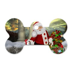 Sanata Claus With Snowman And Christmas Tree Dog Tag Bone (two Sides) by FantasyWorld7